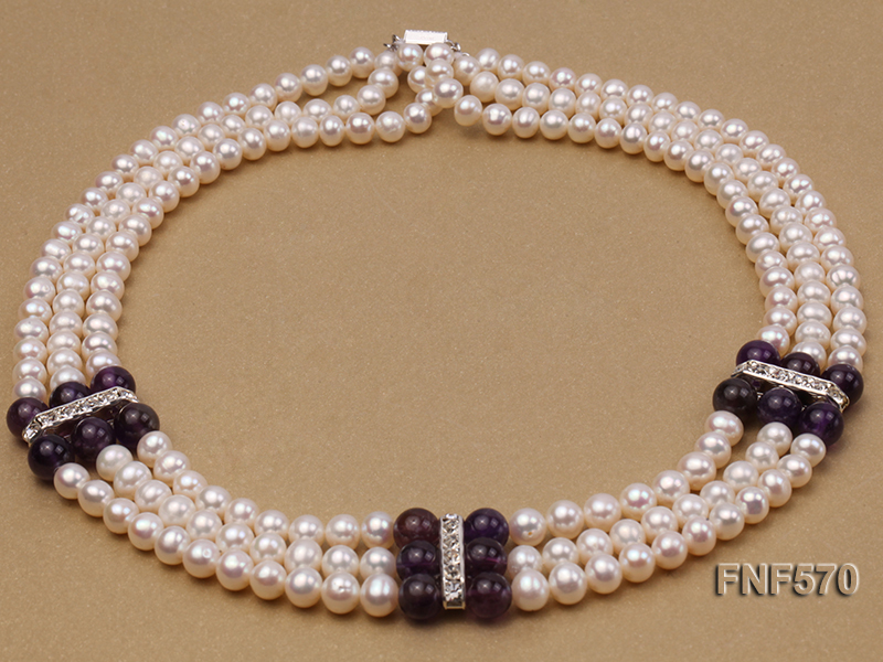 Three-strand 6-7mm White Freshwater Pearl and 8mm Amethyst Necklace big Image 2