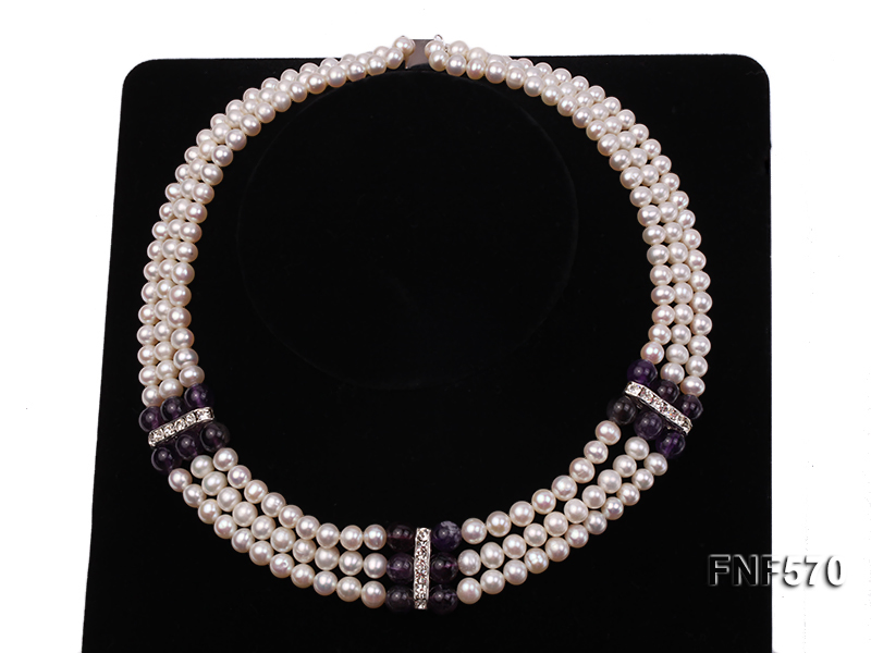 Three-strand 6-7mm White Freshwater Pearl and 8mm Amethyst Necklace big Image 5