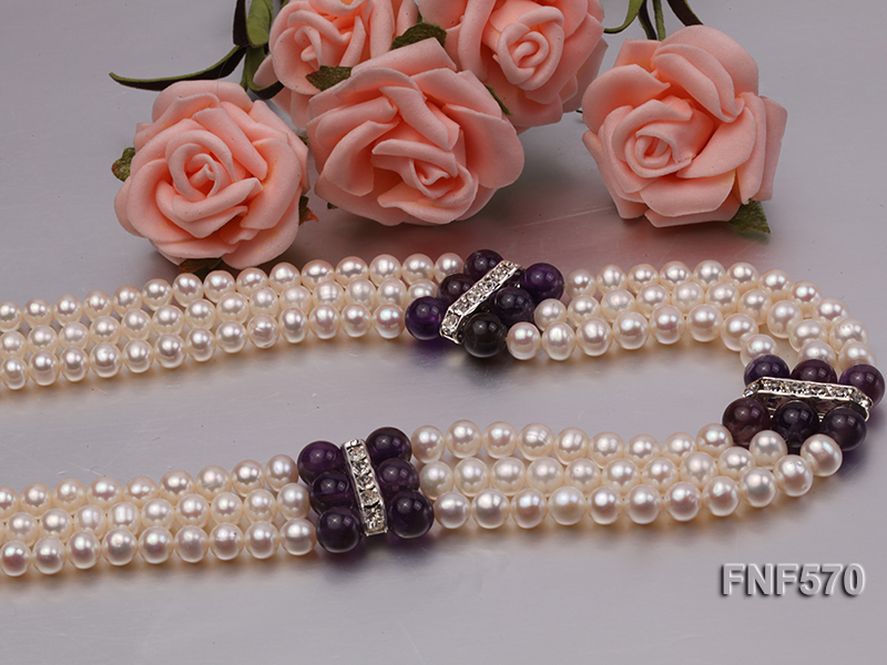 Three-strand 6-7mm White Freshwater Pearl and 8mm Amethyst Necklace big Image 6