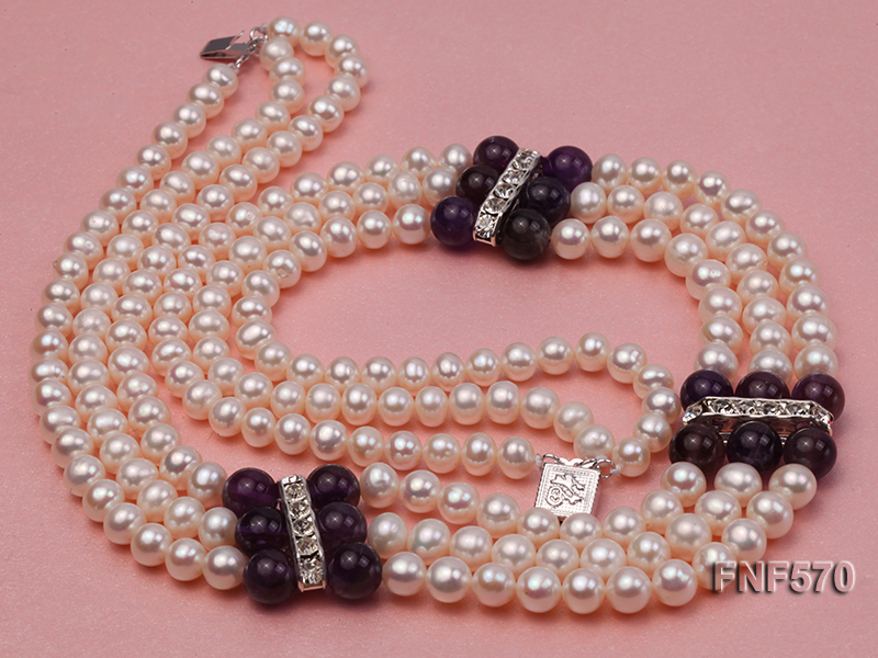 Three-strand 6-7mm White Freshwater Pearl and 8mm Amethyst Necklace big Image 7