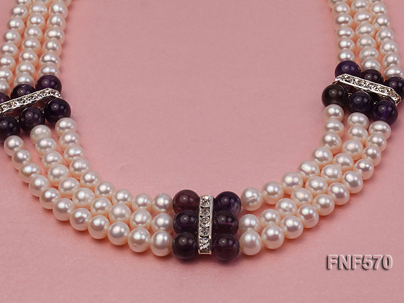 Three-strand 6-7mm White Freshwater Pearl and 8mm Amethyst Necklace big Image 9
