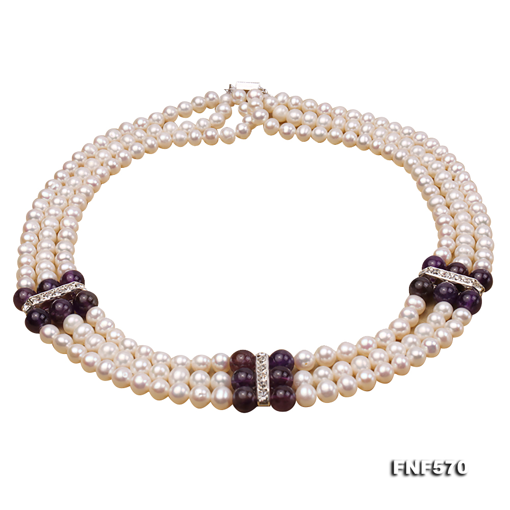 Three-strand 6-7mm White Freshwater Pearl and 8mm Amethyst Necklace big Image 1