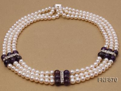 Three-strand 6-7mm White Freshwater Pearl and 8mm Amethyst Necklace FNF570 Image 2