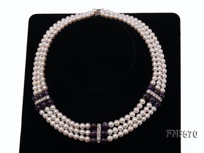Three-strand 6-7mm White Freshwater Pearl and 8mm Amethyst Necklace FNF570 Image 5