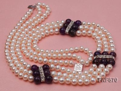 Three-strand 6-7mm White Freshwater Pearl and 8mm Amethyst Necklace FNF570 Image 7