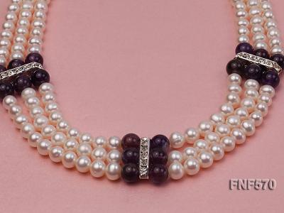 Three-strand 6-7mm White Freshwater Pearl and 8mm Amethyst Necklace FNF570 Image 9