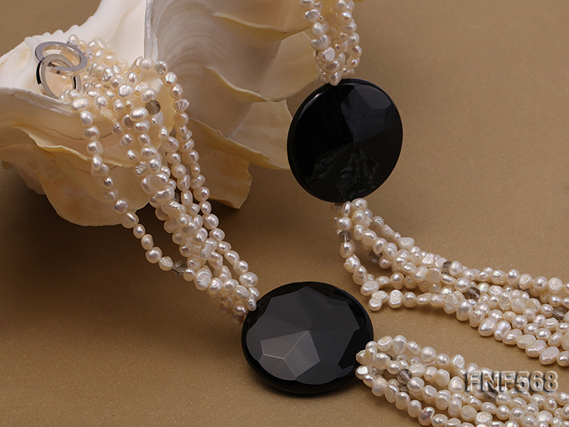 Six-strand 5-7mm Freshwater Pearl, Crystal Beads and Black Agate Necklace big Image 2