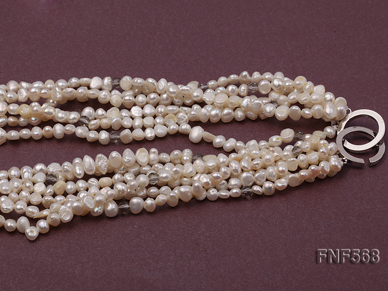 Six-strand 5-7mm Freshwater Pearl, Crystal Beads and Black Agate Necklace big Image 3