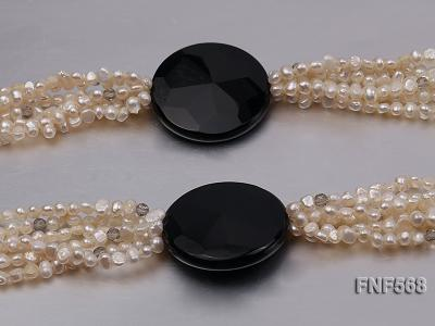 Six-strand 5-7mm Freshwater Pearl, Crystal Beads and Black Agate Necklace FNF568 Image 4
