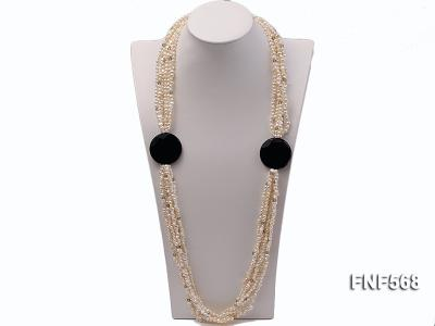 Six-strand 5-7mm Freshwater Pearl, Crystal Beads and Black Agate Necklace FNF568 Image 1