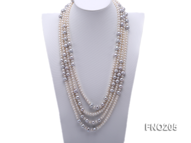 6-7mm white round freshwater pearl and 8-9mm grey round freshwater pearl nacklace big Image 1