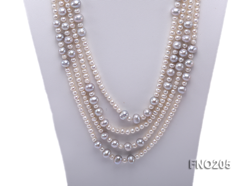 6-7mm white round freshwater pearl and 8-9mm grey round freshwater pearl nacklace big Image 2