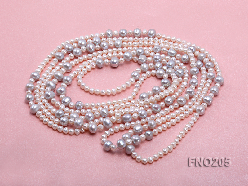 6-7mm white round freshwater pearl and 8-9mm grey round freshwater pearl nacklace big Image 3