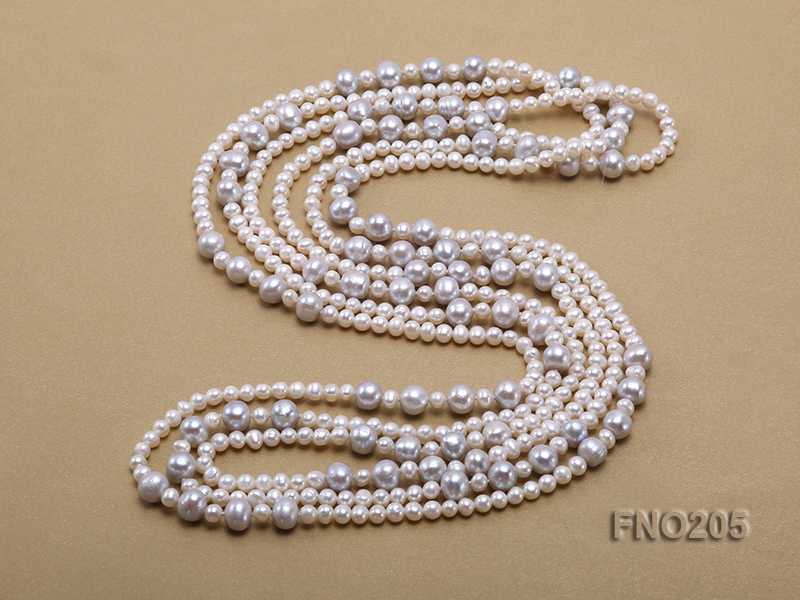 6-7mm white round freshwater pearl and 8-9mm grey round freshwater pearl nacklace big Image 4