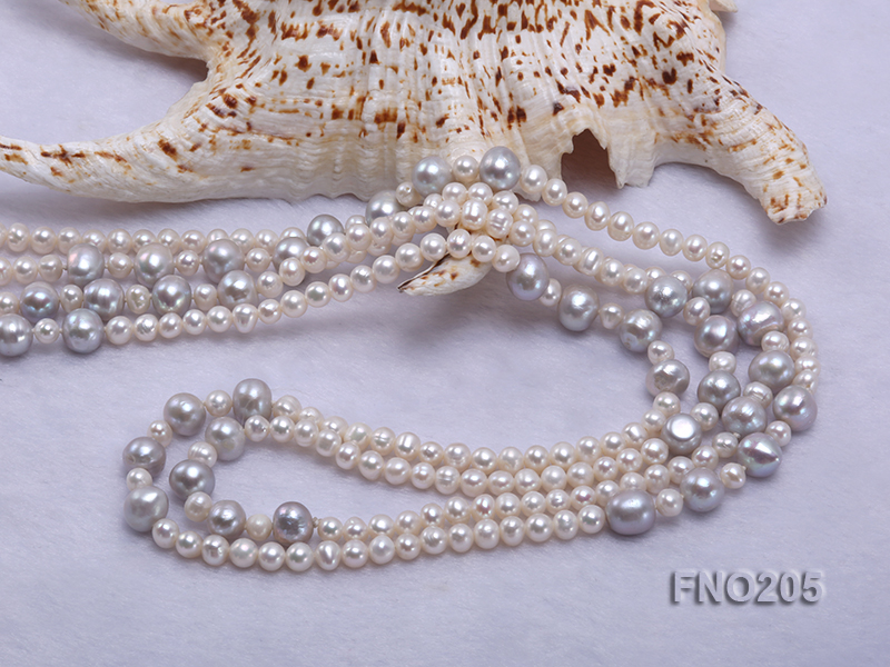 6-7mm white round freshwater pearl and 8-9mm grey round freshwater pearl nacklace big Image 5