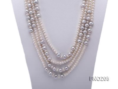 6-7mm white round freshwater pearl and 8-9mm grey round freshwater pearl nacklace FNO205 Image 2