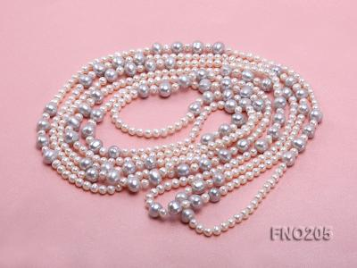 6-7mm white round freshwater pearl and 8-9mm grey round freshwater pearl nacklace FNO205 Image 3