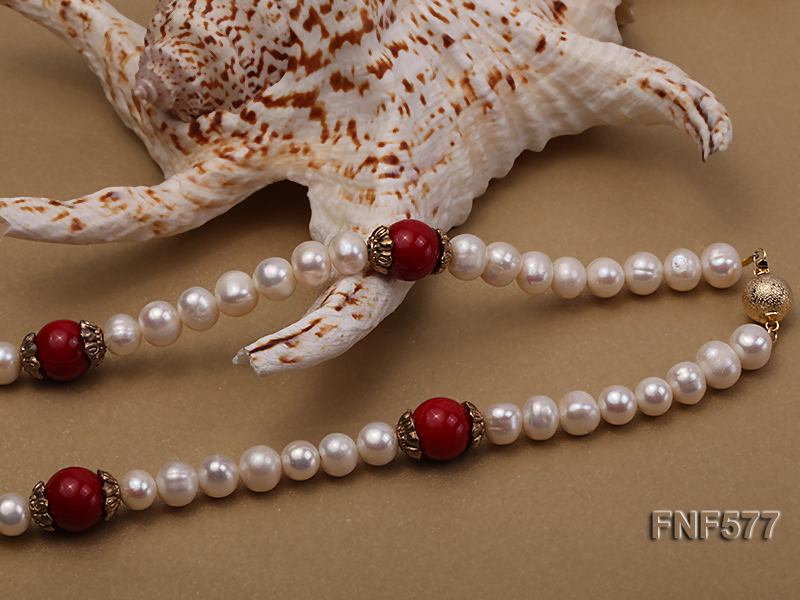 8-9mm White Freshwater Pearl, 12mm Red Coral Beads Necklace with a Red Disc-shaped Agate Pendant big Image 2