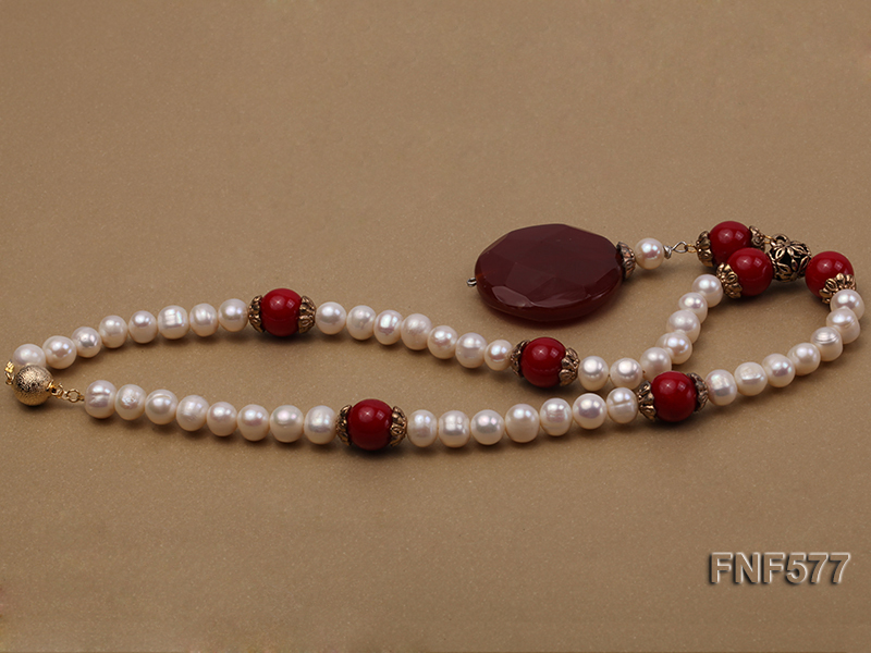 8-9mm White Freshwater Pearl, 12mm Red Coral Beads Necklace with a Red Disc-shaped Agate Pendant big Image 5