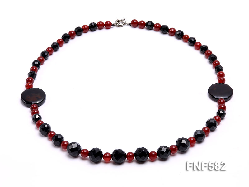 8.5mm round and 9-14mm black faceted agate necklace with disc shape dream agate  big Image 1