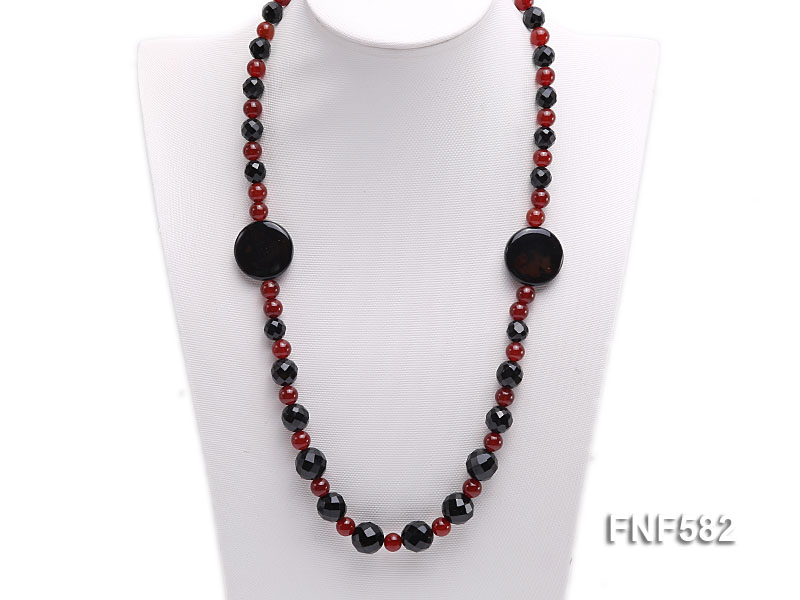 8.5mm round and 9-14mm black faceted agate necklace with disc shape dream agate  big Image 4
