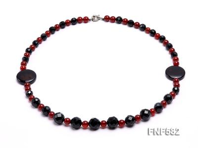 8.5mm round and 9-14mm black faceted agate necklace with disc shape dream agate  FNF582 Image 1
