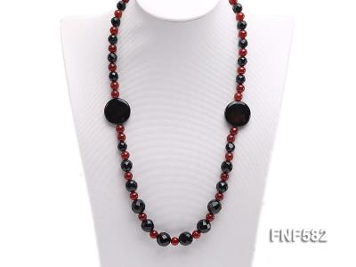 8.5mm round and 9-14mm black faceted agate necklace with disc shape dream agate  FNF582 Image 4