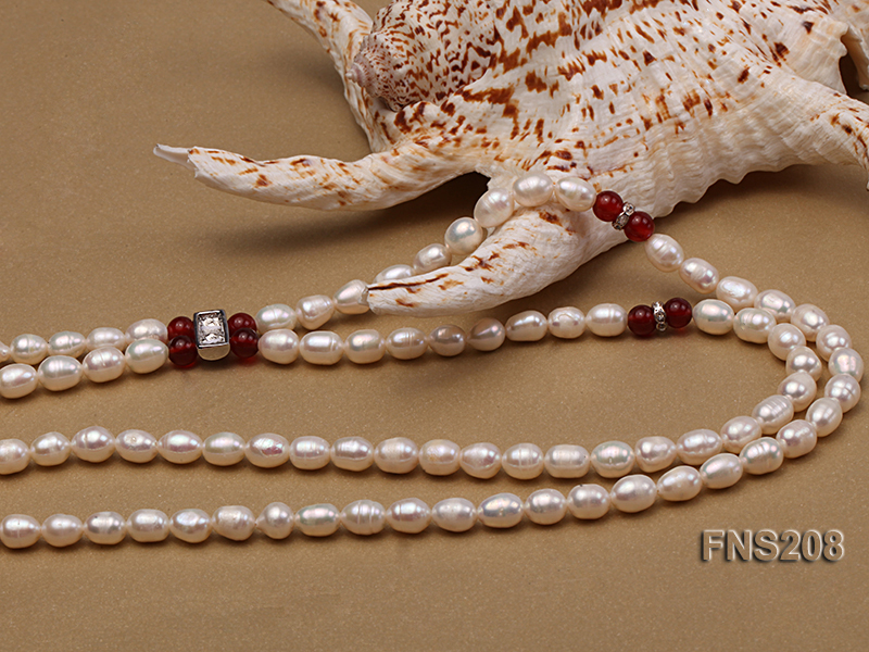 Natural White Rice Freshwater Pearl with Natural Red Agate Necklace big Image 3