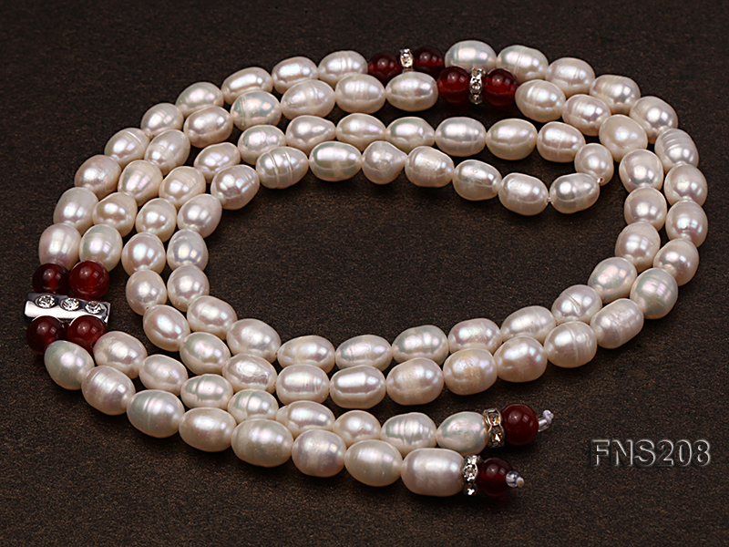 Natural White Rice Freshwater Pearl with Natural Red Agate Necklace big Image 7