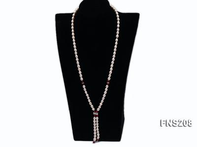 Natural White Rice Freshwater Pearl with Natural Red Agate Necklace FNS208 Image 2