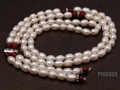 Natural White Rice Freshwater Pearl with Natural Red Agate Necklace FNS208 Image 7