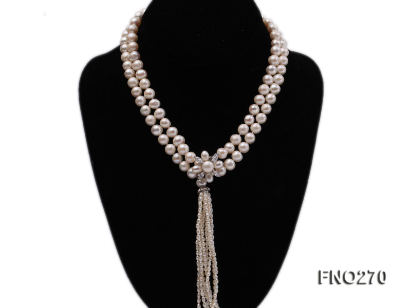 7-9mm white round freshwater pearl necklace big Image 1