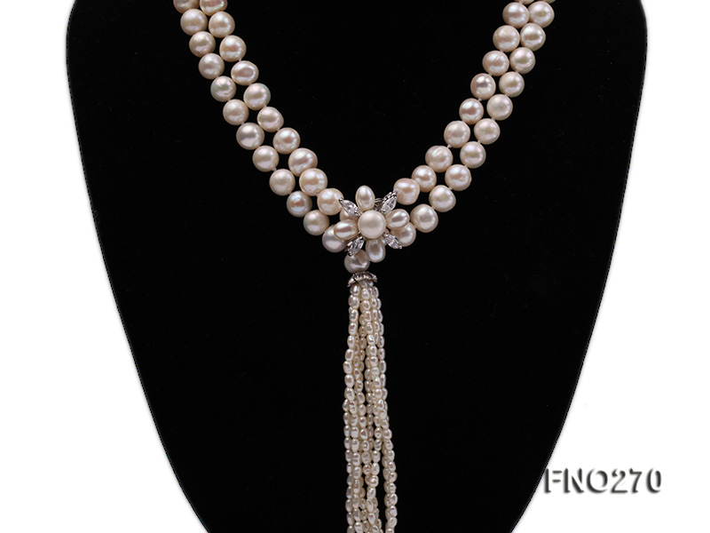 7-9mm white round freshwater pearl necklace big Image 2