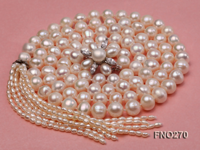 7-9mm white round freshwater pearl necklace big Image 3