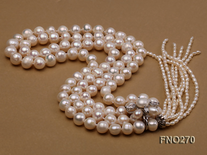 7-9mm white round freshwater pearl necklace big Image 4