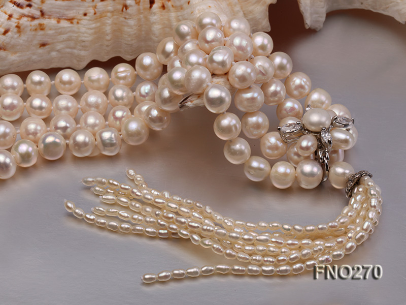 7-9mm white round freshwater pearl necklace big Image 5