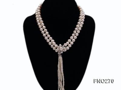 7-9mm white round freshwater pearl necklace FNO270 Image 1