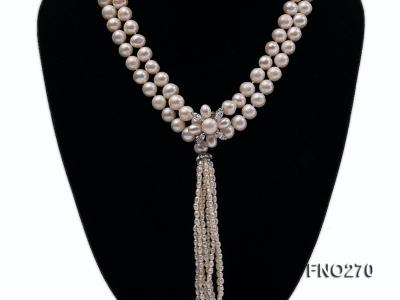 7-9mm white round freshwater pearl necklace FNO270 Image 2