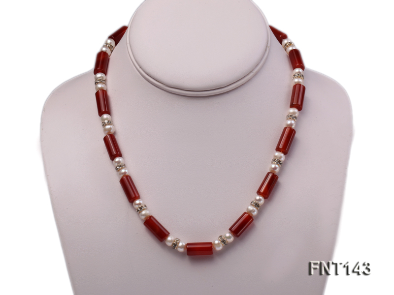 7-8mm White Freshwater Pearl & Red Agate Pillars Necklace and Bracelet Set big Image 2