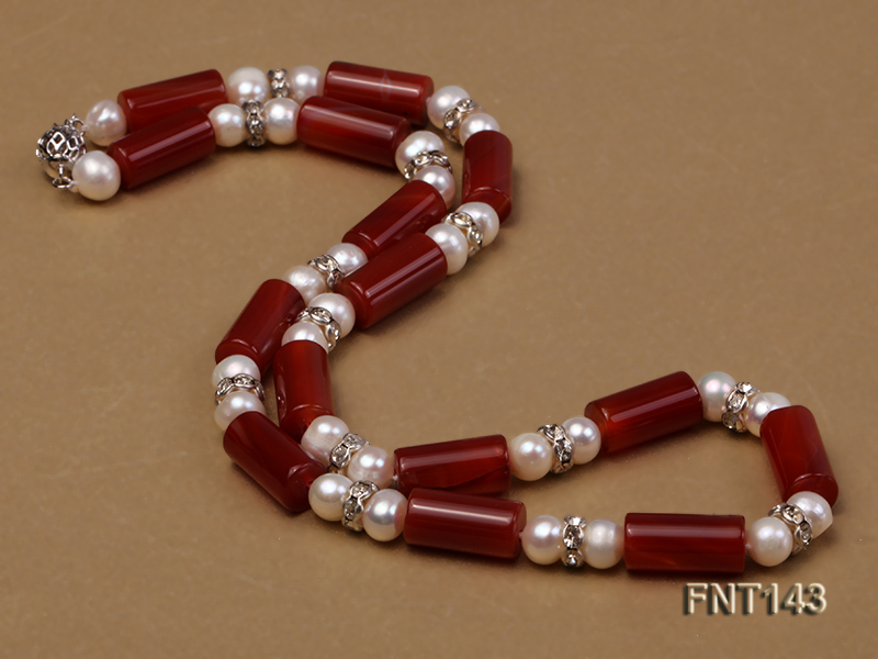7-8mm White Freshwater Pearl & Red Agate Pillars Necklace and Bracelet Set big Image 3