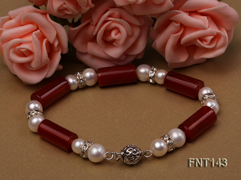 7-8mm White Freshwater Pearl & Red Agate Pillars Necklace and Bracelet Set big Image 4