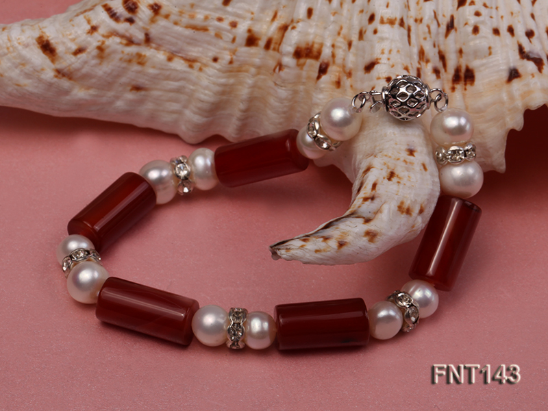 7-8mm White Freshwater Pearl & Red Agate Pillars Necklace and Bracelet Set big Image 6