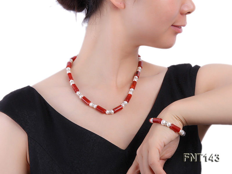 7-8mm White Freshwater Pearl & Red Agate Pillars Necklace and Bracelet Set big Image 1