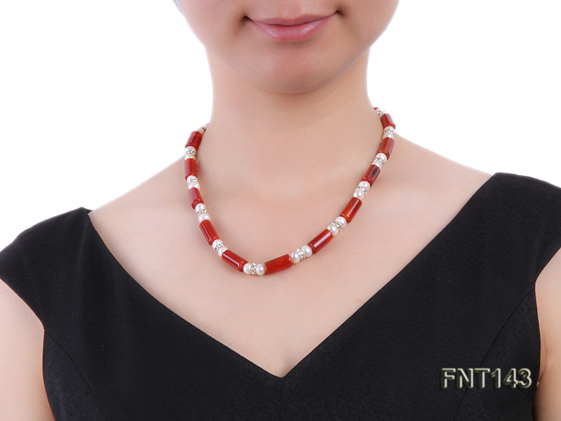 7-8mm White Freshwater Pearl & Red Agate Pillars Necklace and Bracelet Set big Image 7