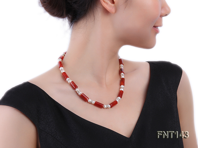 7-8mm White Freshwater Pearl & Red Agate Pillars Necklace and Bracelet Set big Image 8