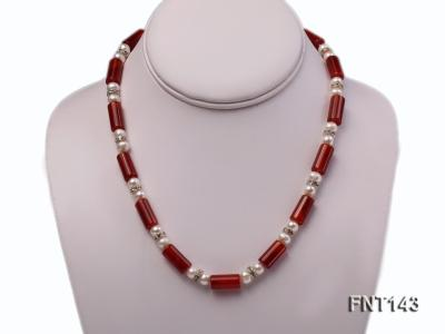7-8mm White Freshwater Pearl & Red Agate Pillars Necklace and Bracelet Set FNT143 Image 2
