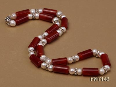 7-8mm White Freshwater Pearl & Red Agate Pillars Necklace and Bracelet Set FNT143 Image 3