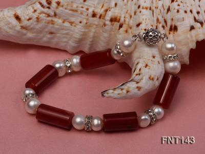 7-8mm White Freshwater Pearl & Red Agate Pillars Necklace and Bracelet Set FNT143 Image 6