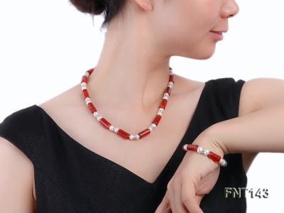 7-8mm White Freshwater Pearl & Red Agate Pillars Necklace and Bracelet Set FNT143 Image 1