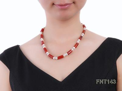 7-8mm White Freshwater Pearl & Red Agate Pillars Necklace and Bracelet Set FNT143 Image 7